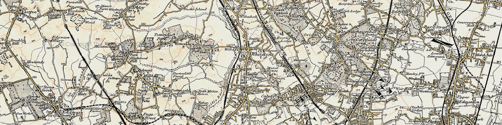 Old map of Whetstone in 1897-1898