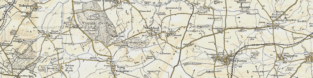 Old map of Whichford in 1898-1901
