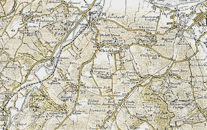 Old map of Whickham in 1901-1904