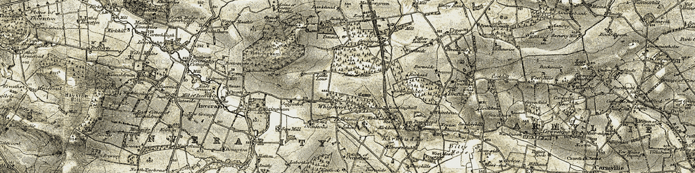 Old map of Whigstreet in 1907-1908