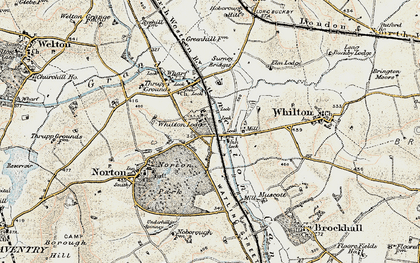 Old map of Whilton Locks in 1898-1901