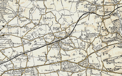 Old map of Whimple in 1898-1900