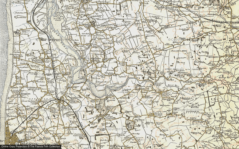 Old Map of Historic Map covering Leylands in 1903-1904
