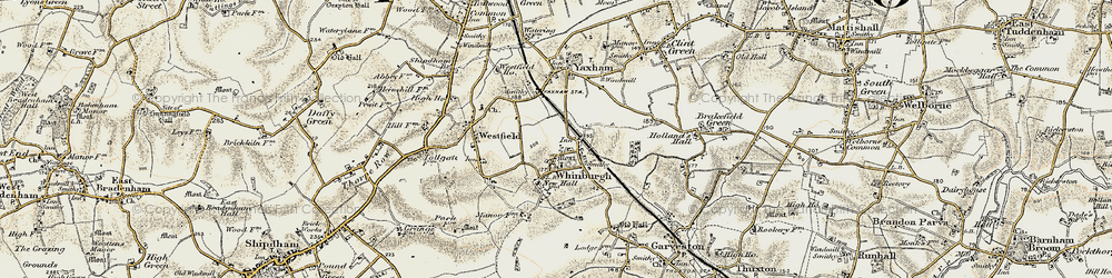 Old map of Whinburgh in 1901-1902