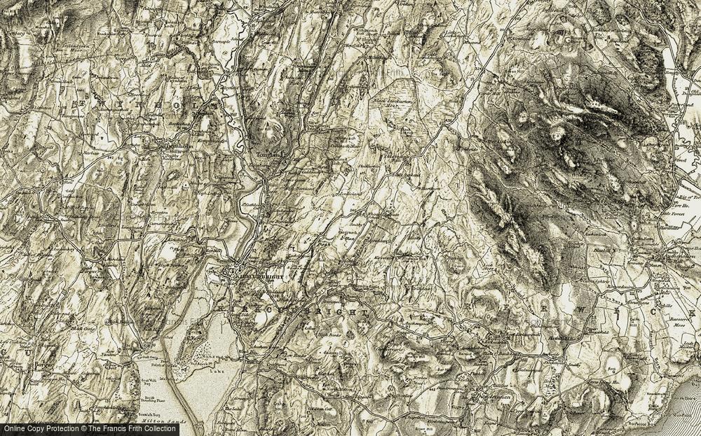 Old Map of Historic Map covering Balgreddan Burn in 1904-1905