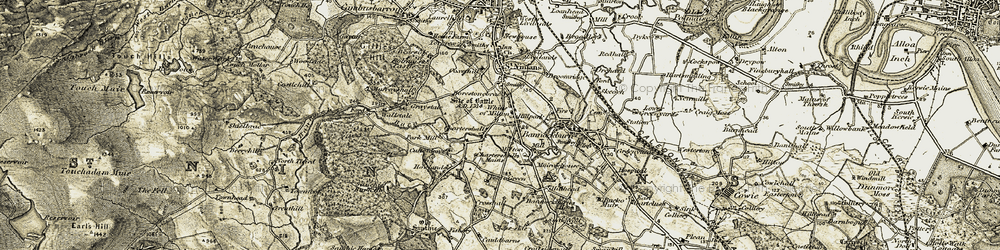Old map of Whins of Milton in 1904-1907