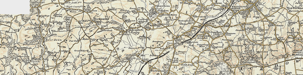Old map of Whipcott in 1898-1900