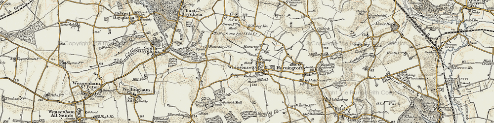 Old map of Whissonsett in 1901-1902