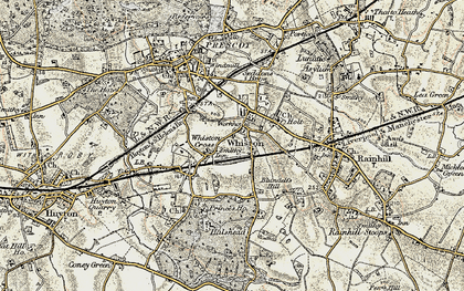 Old map of Whiston in 1902-1903