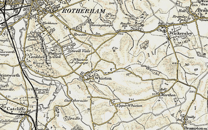 Old map of Whiston in 1903