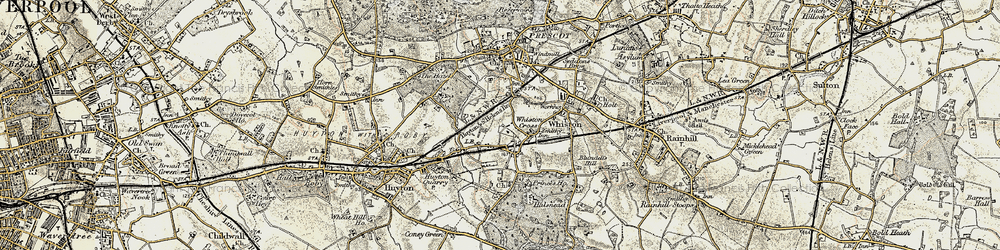 Old map of Whiston Cross in 1902-1903