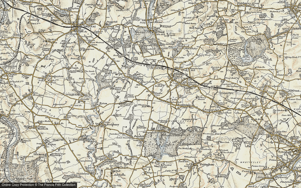 Old Map of Historic Map covering Whiston Hall in 1902