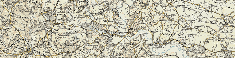 Old map of Whitbourne in 1899-1902