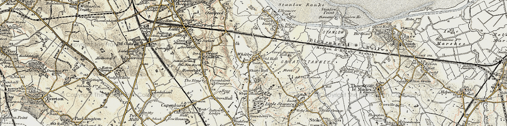 Old map of Whitby in 1902-1903
