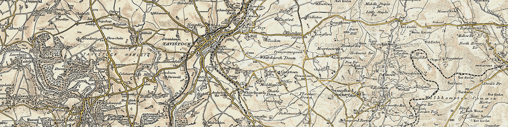 Old map of Whitchurch Down in 1899-1900
