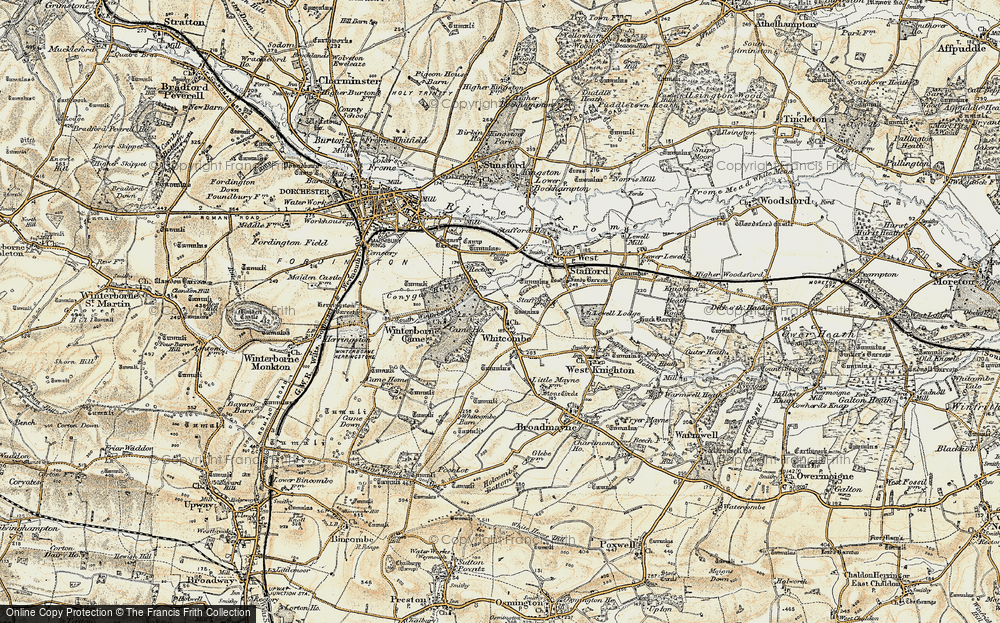Old Map of Whitcombe, 1899-1909 in 1899-1909
