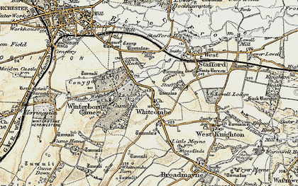 Old map of Whitcombe in 1899-1909
