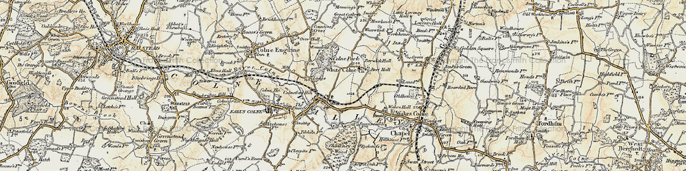 Old map of White Colne in 1898-1899