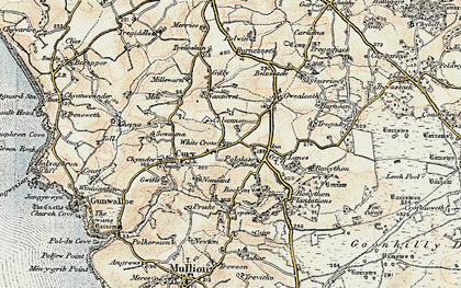Old map of White Cross in 1900