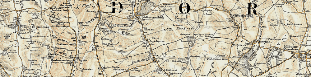 Old map of Whitcombe Hill in 1897-1909