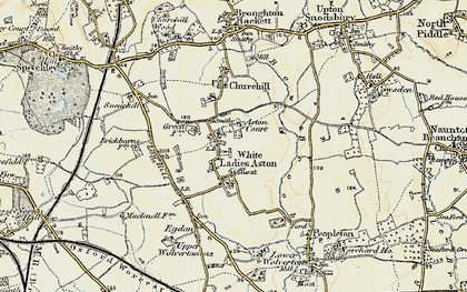 Old map of White Ladies Aston in 1899-1901