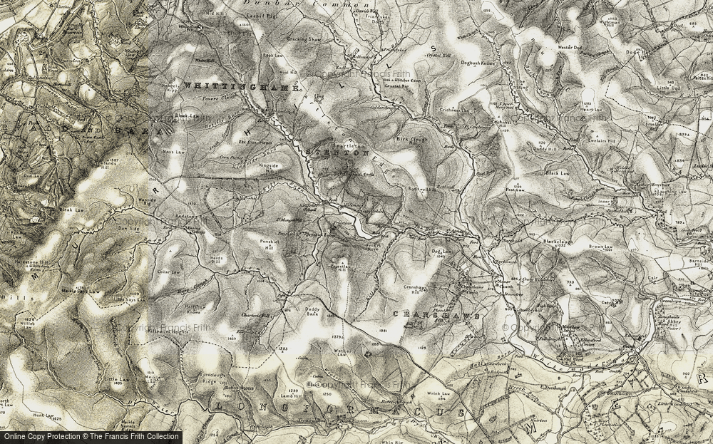 Old Map of Historic Map covering Ling Rig in 1901-1904