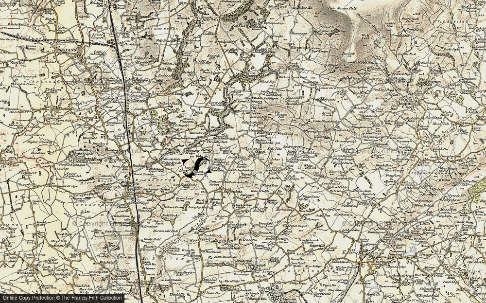 Old Map of Historic Map covering White Moss Gate in 1903-1904