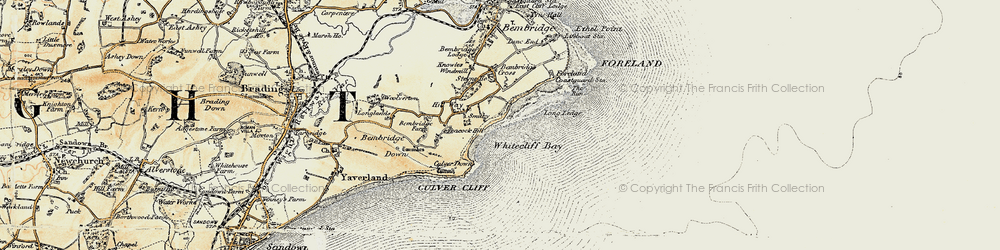 Old map of Whitecliff Bay in 1899