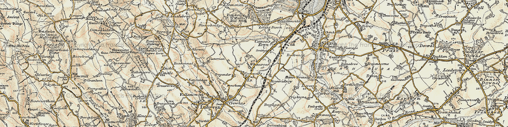 Old map of Whitecross in 1900