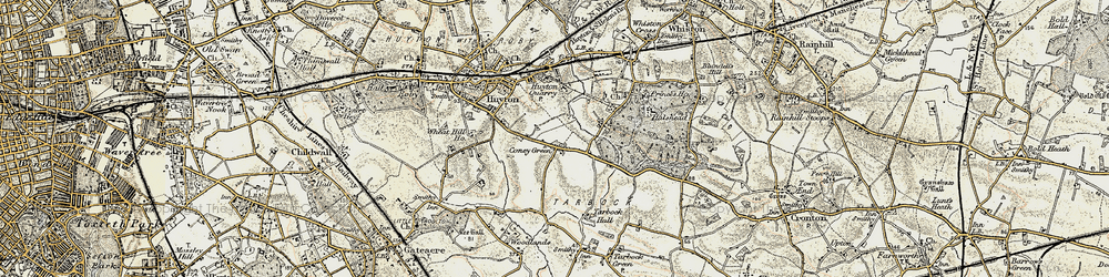 Old map of Huyton Quarry in 1902-1903