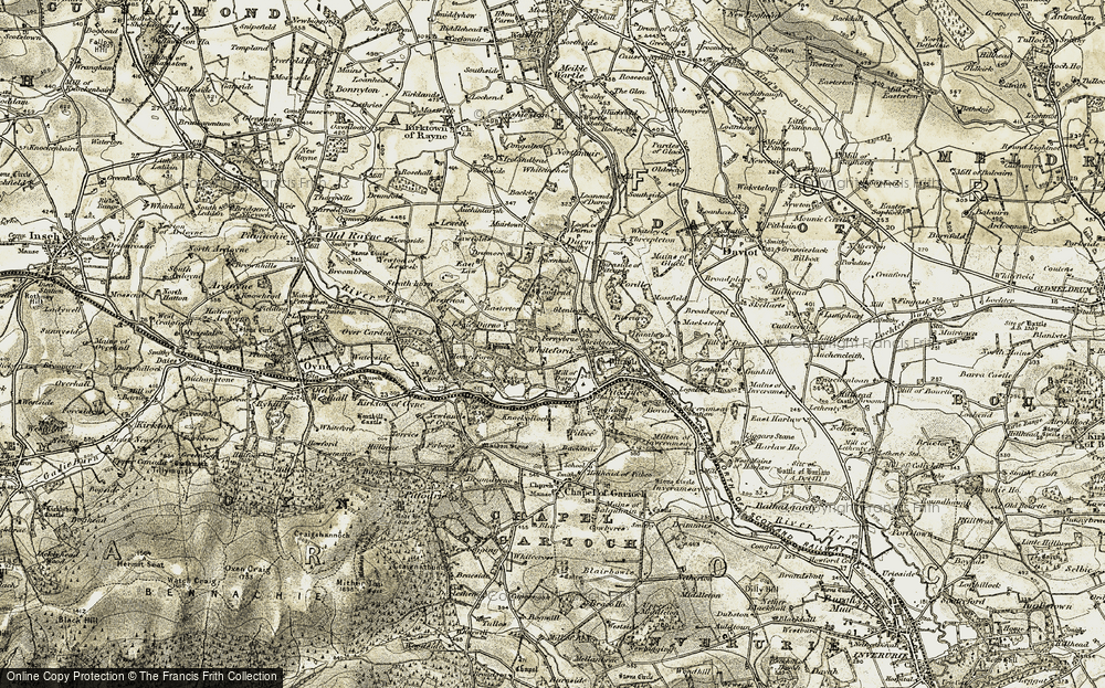 Old Map of Historic Map covering Woodend in 1909-1910