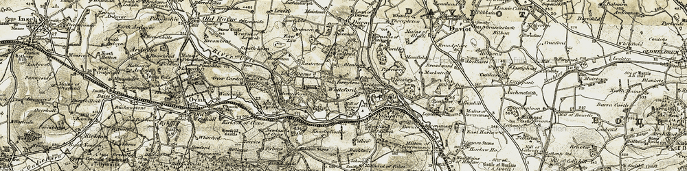 Old map of Whiteford in 1909-1910