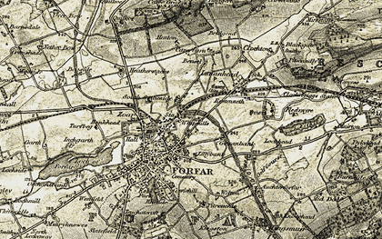 Old map of Whitehills in 1907-1908