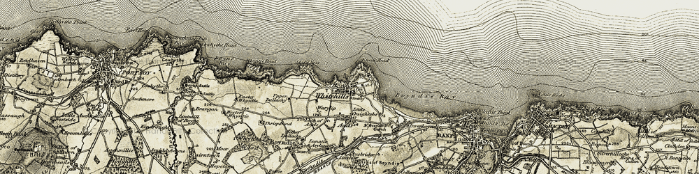 Old map of Whitehills in 1910