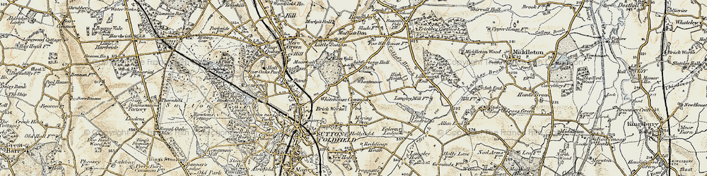 Old map of Whitehouse Common in 1901-1902