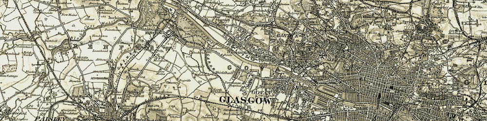 Old map of Whiteinch in 1904-1905
