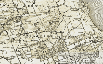Old map of Whitekirk Br in 1901-1906