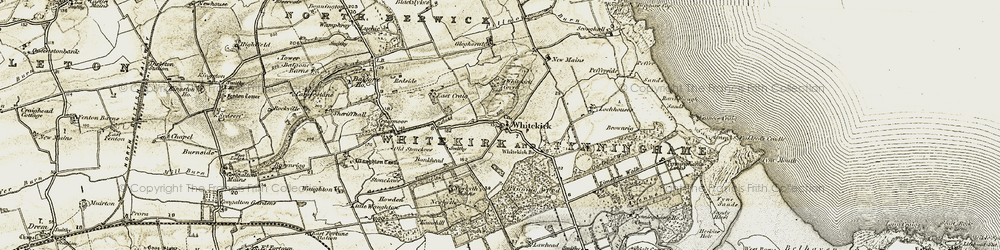 Old map of Whitekirk in 1901-1906
