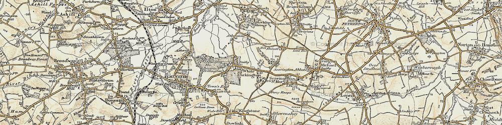 Old map of Whitelackington in 1898-1900