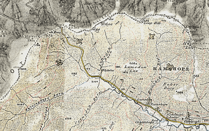 Old map of Carter Bar in 1901-1904