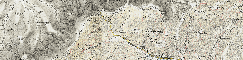Old map of Whitelee in 1901-1904