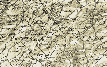 Old map of Whitelees in 1905-1906