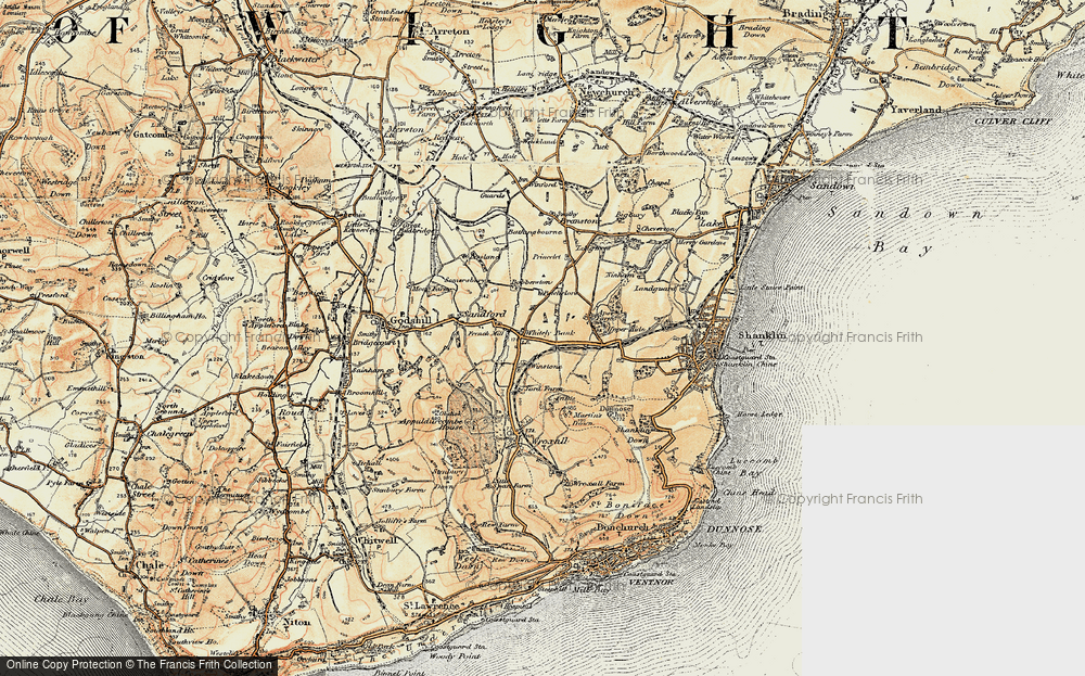 Old Map of Whiteley Bank, 1899 in 1899