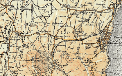 Old map of Whiteley Bank in 1899
