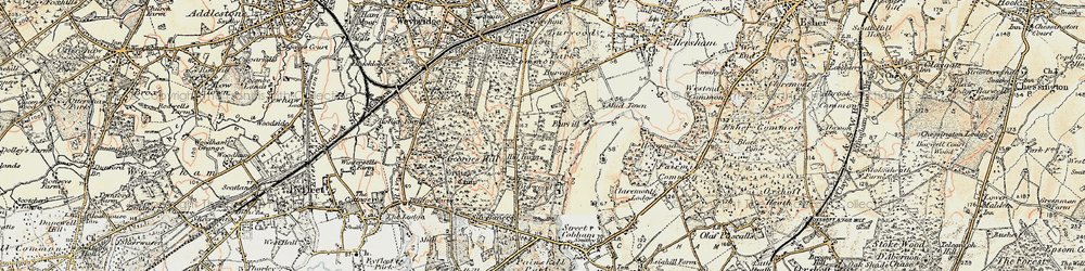 Old map of Whiteley Village in 1897-1909