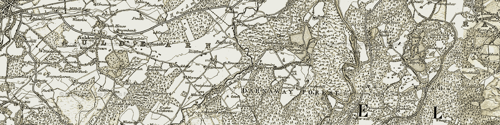Old map of Wester Milton in 1910-1911