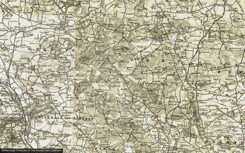 Old Map of Historic Map covering Auchenhuive in 1909-1910