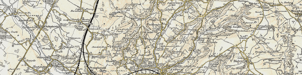 Old map of Whiteshill in 1898-1900