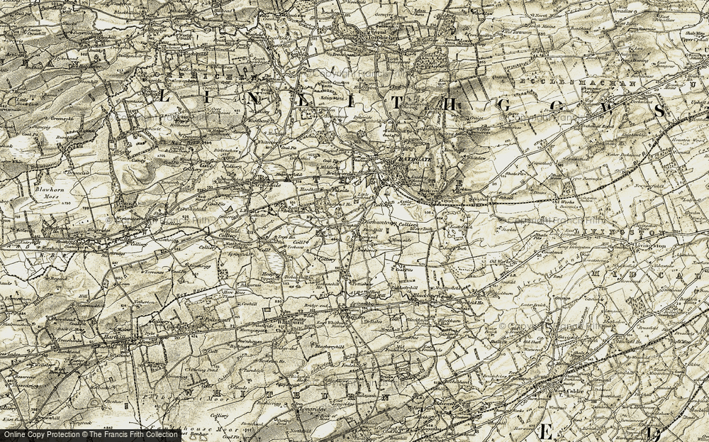 Old Map of Historic Map covering Whiteside in 1904