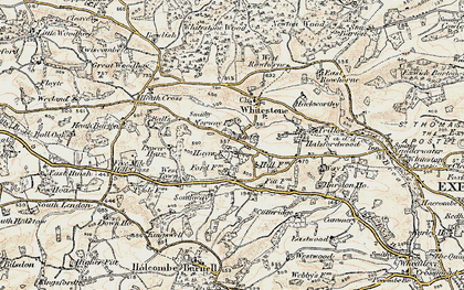Old map of Whitestone Wood in 1899-1900